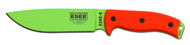 "ESEE 6 Fixed Blade Knife 6P-VG, Venom Green (VG) 6.5"" Plain Edge Blade, Orange G-10 Handle, Clip Plate, Black Sheath, Rounded Pommel"