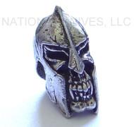 """Schmuckatelli Spartan Skull Bead SPP, 3/16"""" Hole, Solid Pewter"""