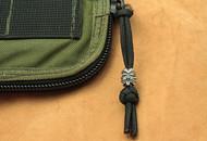 Schmuckatelli Kiko Tiki Bead Monkey Fist Zipper Pull KMFZPP, Solid Pewter Bead, Black Paracord