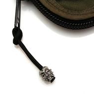 Schmuckatelli Kiko Tiki Bead Zipper Pull KSZPP, Solid Pewter Bead, Black Paracord