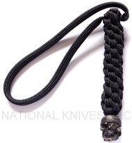 Schmuckatelli One-Eyed Jack Pirate Skull Bead Lanyard OJBLBB, Black Oxide Finished Bead, Black Paracord