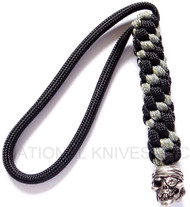 Schmuckatelli One-Eyed Jack Pirate Skull Bead Lanyard OJBLBDCP, Solid Pewter Bead, Black and Digi Camo Paracord