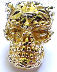 "Schmuckatelli Aquilo Sugar Skull Bead AG, 3/16"" Hole, 18K Gold Plated"