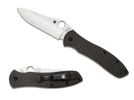 "Spyderco Gayle Bradley 2 C134CFP2 Folding Knife, 3.625"" Plain Edge Blade, Black Carbon Fiber and G-10 Laminate Handle"
