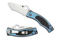 "Spyderco Vrango C201TIBLP Folding Knife, 2.5"" Plain Edge Blade, Blue Titanium and Black Carbon Fiber Handle"