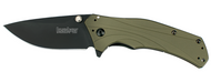 "Kershaw Knockout 1870OLBLK Assisted Opening Folding Knife, Black 3.25"" Plain Edge Blade, Olive Drab Handle"