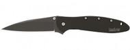 "Kershaw Leek 1660CKT Assisted Opening Folding Knife, Black 3"" Plain Edge Blade, Black Stainless Steel Handle"