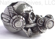 "Schmuckatelli Brous Gas Mask Skull Bead (No Logo) BP-NL, 3/16"" Hole, Solid Pewter"