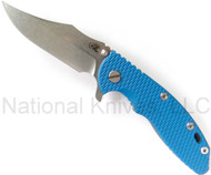 "Rick Hinderer Knives XM-18 Bowie, Stonewashed 3.5"" S35VN Plain Blade, Gray Battle Finish Lockside, Blue G-10"