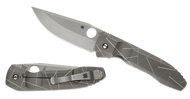 "Spyderco Nirvana C199TIP Folding Knife, 3.75"" Plain Edge Blade, ""Broken Glass"" Titanium Handle"