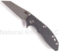 "Rick Hinderer Knives XM-18 Wharncliffe, Stonewashed 3"" S35VN Blade, Blue - Black G-10"