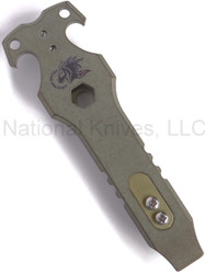Rick Hinderer Knives HS-TacTool Steel Flame Pocket Tool - Smooth Titanium, Unique - Anodized Gold Clip/Tab
