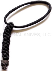 Schmuckatelli Aquilo Sugar Skull Lanyard ABLBB, Black Oxide Finished Bead, Black Paracord