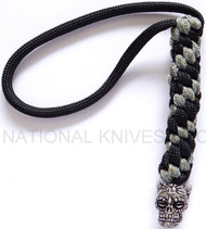 Schmuckatelli Aquilo Sugar Skull Lanyard ABLBDCP, Solid Pewter Bead, Black and Digi Camo Paracord