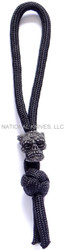 Schmuckatelli Aquilo Sugar Skull Diamond Knot Zipper Pull ADKZPB, Black Oxide Finished Bead, Black Paracord