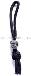 Schmuckatelli Aquilo Sugar Skull Diamond Knot Zipper Pull ADKZPP, Solid Pewter Bead, Black Paracord