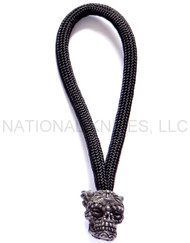 Schmuckatelli Aquilo Sugar Skull Bead Zipper Pull ASZPB, Black Oxide Finished Bead, Black Paracord