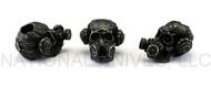 "Schmuckatelli Brous Gas Mask Skull Bead (No Logo) BB-NL, 3/16"" Hole, Black Oxide Finish"