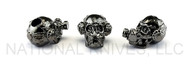 "Schmuckatelli Brous Gas Mask Skull Bead (No Logo) BH-NL, 3/16"" Hole, Hematite Plated"