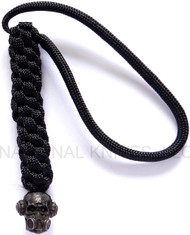 Schmuckatelli Brous Gas Mask Skull Lanyard BBLBB-NL (No Logo), Black Oxide Finished Bead, Black Paracord