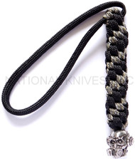 Schmuckatelli Brous Gas Mask Skull Lanyard BBLBDCP-NL (No Logo), Solid Pewter Bead, Black and Digi Camo Paracord