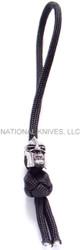Schmuckatelli Spartan Skull Diamond Knot Zipper Pull SPDKZPP, Solid Pewter Bead, Black Paracord