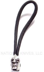 Schmuckatelli Spartan Skull Bead Zipper Pull SPSZPP, Solid Pewter Bead, Black Paracord