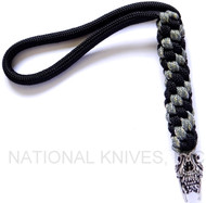 Schmuckatelli Sabertooth Skull Lanyard STBLBDCP, Solid Pewter Bead, Black and Digi Camo Paracord
