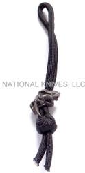Schmuckatelli Sabertooth Skull Diamond Knot Zipper Pull STDKZPB, Black Oxide Finished Bead, Black Paracord