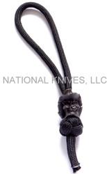 Schmuckatelli Vinnie Garoon Cowboy Skull Diamond Knot Zipper Pull VGDKZPB, Black Oxided Finished Bead, Black Paracord