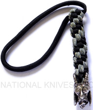 Schmuckatelli USN Tactical Goat Skull Lanyard USNBLBDCP, Solid Pewter Bead, Black and Digi Camo Paracord