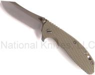 "Rick Hinderer Knives XM-24 Skinner Folding Knife, Stonewashed 4"" Plain Edge S35VN Blade, Stonewashed Lock Side, Olive Drab (OD) G-10 Handle"