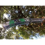 Finney Knives Squire 501-FK1 Folding Pocket Knife, 2.75 420HC Plain Blade, Abalone/Variscite Handle