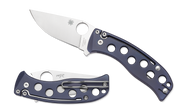 "Spyderco PITS Folder C192TIBLP Slipit Folding Knife, 3"" Plain Edge Blade, Blue Titanium Handle"