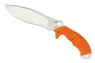 "Spyderco Rock Salt FB20POR Sprint Run Fixed Blade Knife, 6.75"" Plain Edge H-1 Blade, Orange FRN Handle, Sheath"