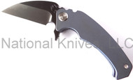 "Medford Knives FUK Flipper MK06DP-02ANBL Folding Knife, Black 3.5"" Plain Edge D2 Blade, Blue Titanium Handle"
