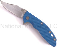 "Rick Hinderer Knives XM-18 Bowie Folding Knife, Stonewashed 3.5"" Plain Edge S35VN Blade, Stonewashed Lock Side, Blue G-10 Handle"