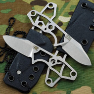 "Rick Hinderer Knives LP-1 Neck Knife Fixed Blade, Stonewashed 1-7/8"" Plain Edge S35VN Blade, Black Kydex Sheath w/Chain"