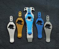 Rick Hinderer Knives Horse Head Logo Pocket Clip - Blue Battle Finish Titanium