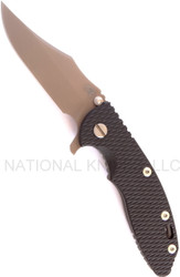 "Rick Hinderer Knives XM-18 Bowie Folding Knife, Flat Dark Earth DLC 3.5"" Plain Edge S35VN Blade, Working Finish Lock Side, Black G-10 Handle"