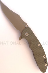 "Rick Hinderer Knives XM-18 Bowie Folding Knife, Battle Flat Dark Earth 3.5"" Plain Edge S35VN Blade, Working Finish Lock Side, Olive Drab (OD) G-10 Handle"