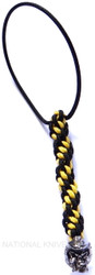 Schmuckatelli Mini Vinnie Garoon Cowboy Skull Lanyard VGMLBY, Solid Pewter Bead, Black and Yellow Cord
