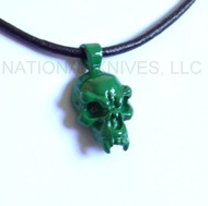 Schmuckatelli Fang Skull Pendant FPPCG, Powder Coated Green Finish