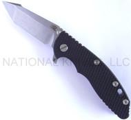 "Rick Hinderer Knives XM-18 Harpoon Tanto FATTY Folding Knife, Stonewashed 3.5"" Long Plain Edge S35VN .185"" Thick Blade, Stonewashed Lock Side, Black G-10 Handle"