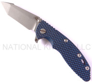 "Rick Hinderer Knives XM-18 Harpoon Tanto FATTY Folding Knife, Working Finish 3.5"" Long Plain Edge S35VN .185"" Thick Blade, Working Finish Lock Side, Blue - Black G-10 Handle"