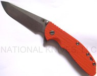 "Rick Hinderer Knives XM-24 Spanto Folding Knife, Stonewashed 4"" Plain Edge S35VN Blade, Stonewashed Lock Side, Orange G-10 Handle"