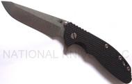 """Rick Hinderer Knives XM-24 Spanto Folding Knife, Stonewashed 4"""" Plain Edge S35VN Blade, Stonewashed Lock Side, Black G-10 Handle"""