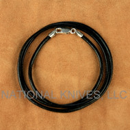 "Schmuckatelli 2 mm Black Leather 18"" Necklace 02-BLN18, Sterling Silver Lobster Claw Clasp"