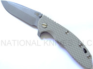 "Rick Hinderer Knives XM-18 Spanto Folding Knife, Working Finish 3.5"" S35VN Blade, Working Finish Lockside, Sand G-10"