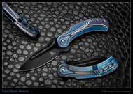 """Todd Begg Knives Steelcraft Series Field Marshall FM231 Folding Knife, 2-Tone Black 4"""" CPM-S35VN Blade, Blue, Blue, & Silver Handle"""